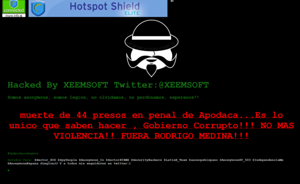 Sitio hackeado Apodaca