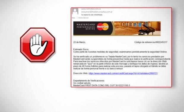 Correo falso mastercard